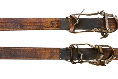 antique skis ca. 1910   84 inches by 21 inches   skitime